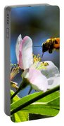 Apple Blossom And Honey Bee Portable Battery Charger