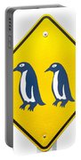 Attention Blue Penguin Crossing Road Sign Portable Battery Charger