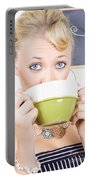 Attractive Blonde Woman Drinking Green Tea Portable Battery Charger