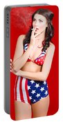 Attractive Usa Pinup Woman Smoking Portable Battery Charger