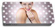 Attractive Young Retro Girl With Look Of Surprise Portable Battery Charger