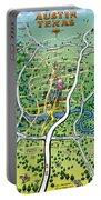 Austin Texas Cartoon Map Portable Battery Charger