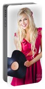 Beautiful Blonde With Heart-shaped Record Portable Battery Charger