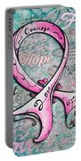 Beautiful Inspirational Elegant Pink Ribbon Design Art For Breast Cancer Awareness Portable Battery Charger