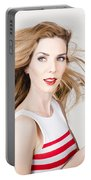 Beautiful Model Hair Styling Long Red Hairstyle Portable Battery Charger