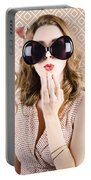 Beautiful Surprised Girl Wearing Big Sunglasses Portable Battery Charger
