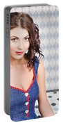 Beautiful Young Brunette Pin-up Woman  Portable Battery Charger