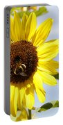 Bee On Flower Portable Battery Charger by Les Cunliffe