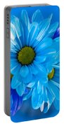 Blue Daisies In Vase Outdoors Portable Battery Charger