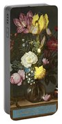 Bouquet Of Flowers In A Glass Vase Portable Battery Charger