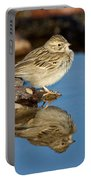 Brewers Sparrow At Waterhole Portable Battery Charger