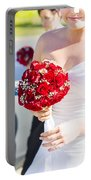 Bride Holding Red Rose Flower Bunch Portable Battery Charger