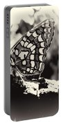 Butterfly In Black And White  Portable Battery Charger