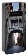 Carrer Del Bisbe Street In Gothic Quarter Of Barcelona Portable Battery Charger