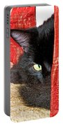 Cat Hiding Behind Drapes Portable Battery Charger