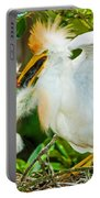 Cattle Egret With Young In Nest Portable Battery Charger