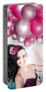 Celebration. Happy Fashion Woman Holding Balloons Portable Battery Charger
