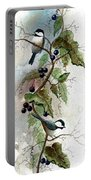 Chickadees And Blueberries Portable Battery Charger
