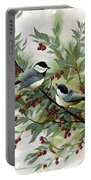 Chickadees And Cherries Portable Battery Charger