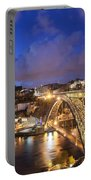 City Of Porto In Portugal By Night Portable Battery Charger
