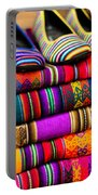 Colorful Fabric At Market In Peru Portable Battery Charger