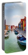 Colorful Houses And Canal On Burano Island Near Venice Italy Portable Battery Charger