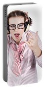 Cool Music Nerd Rocking Out To Metal On Headphones Portable Battery Charger