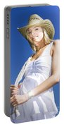 Cowgirl In Dress And Hat Portable Battery Charger
