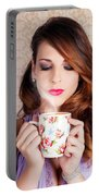 Cute Brunette Woman Drinking Hot Coffee Indoors Portable Battery Charger
