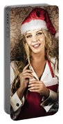 Cute Vintage Housewife Cooking Christmas Meal Portable Battery Charger