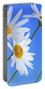 Daisy Flowers On Blue Background Portable Battery Charger