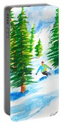 David Skiing The Trees  Portable Battery Charger