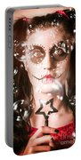 Day Of The Dead Girl Blowing Party Bubbles Portable Battery Charger
