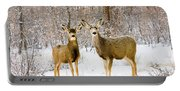 Deer In The Snowy Woods Portable Battery Charger