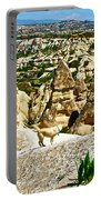 Dog Looking At Fairy Chimneys In Cappadocia-turkey Portable Battery Charger