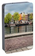Dutch Houses By The Amstel River In Amsterdam Portable Battery Charger