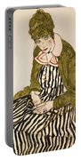 Edith With Striped Dress Sitting Portable Battery Charger