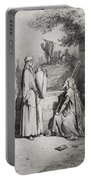 Eliezer And Rebekah Portable Battery Charger by Gustave Dore