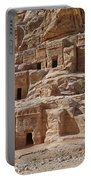 facade street in Nabataean ancient town Petra Portable Battery Charger by Juergen Ritterbach