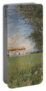 Farmhouse In A Wheat Field Portable Battery Charger