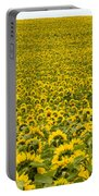 Field Of Blooming Yellow Sunflowers To Horizon Portable Battery Charger