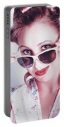 Fifties Glamor Girl Wearing Retro Pin-up Fashion Portable Battery Charger