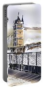 Fine Art Drawing The Tower Bridge In London Uk Portable Battery Charger