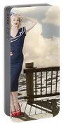 Fine Art Vintage Pin-up. Vacation Departure Dock Portable Battery Charger