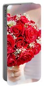 Floral Rose Boquet Held By Bride Portable Battery Charger