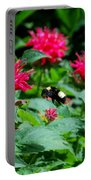 Flying Bee With Bee Balm Flowers Portable Battery Charger