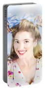 Friendly Female Pin-up Wearing Hair Accessories  Portable Battery Charger