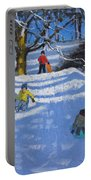 Fun In The Snow Portable Battery Charger by Andrew Macara