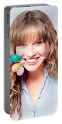 Fun Party Girl With Balloons In Mouth Portable Battery Charger