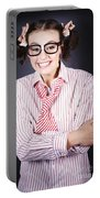 Funny Female Business Nerd With Big Geeky Smile Portable Battery Charger